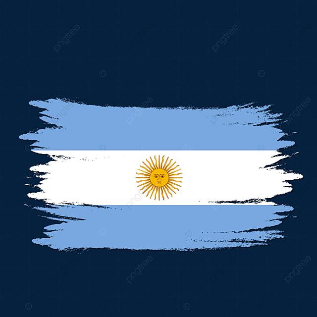 Argentina Flag Transparent Watercolor Painted Brush Argentina