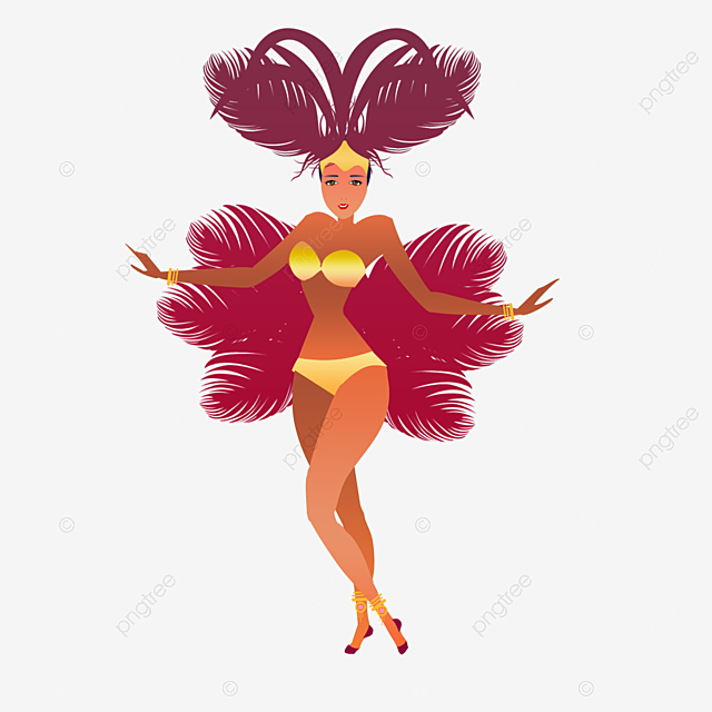 cartoon red feather carnival girl illustration
