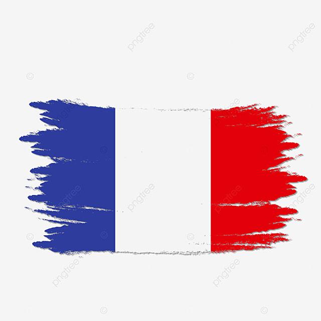 Logo Mockup Design For Business: France Flag Transparent Watercolor Painted Brush, France