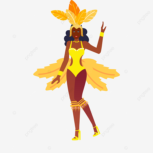 hand drawn carnival yellow feather girl illustration