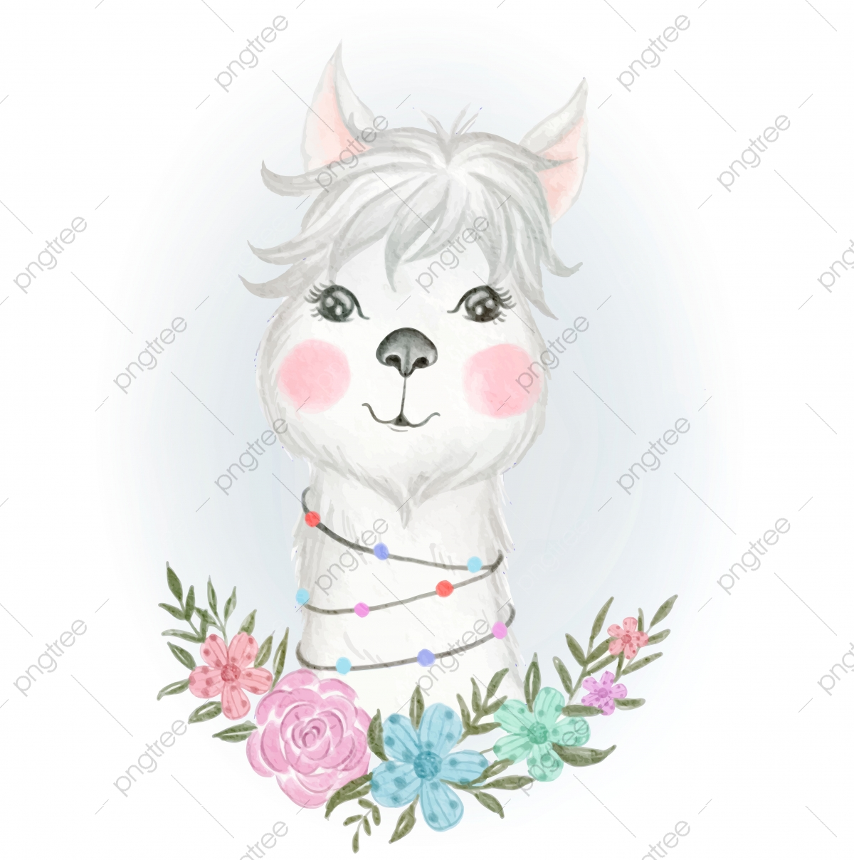Baby Llama Adorable With Floral Watercolor Illustration Llama Clipart Girl Watercolor Png And Vector With Transparent Background For Free Download