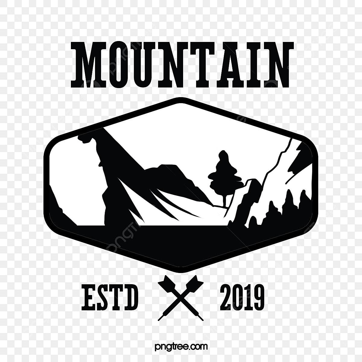 Gambar Gunung Hitam Dan Putih Dan Stiker Pegunungan Pegunungan Gunung Dan Sungai Medali Png Transparan Clipart Dan File Psd Untuk Unduh Gratis