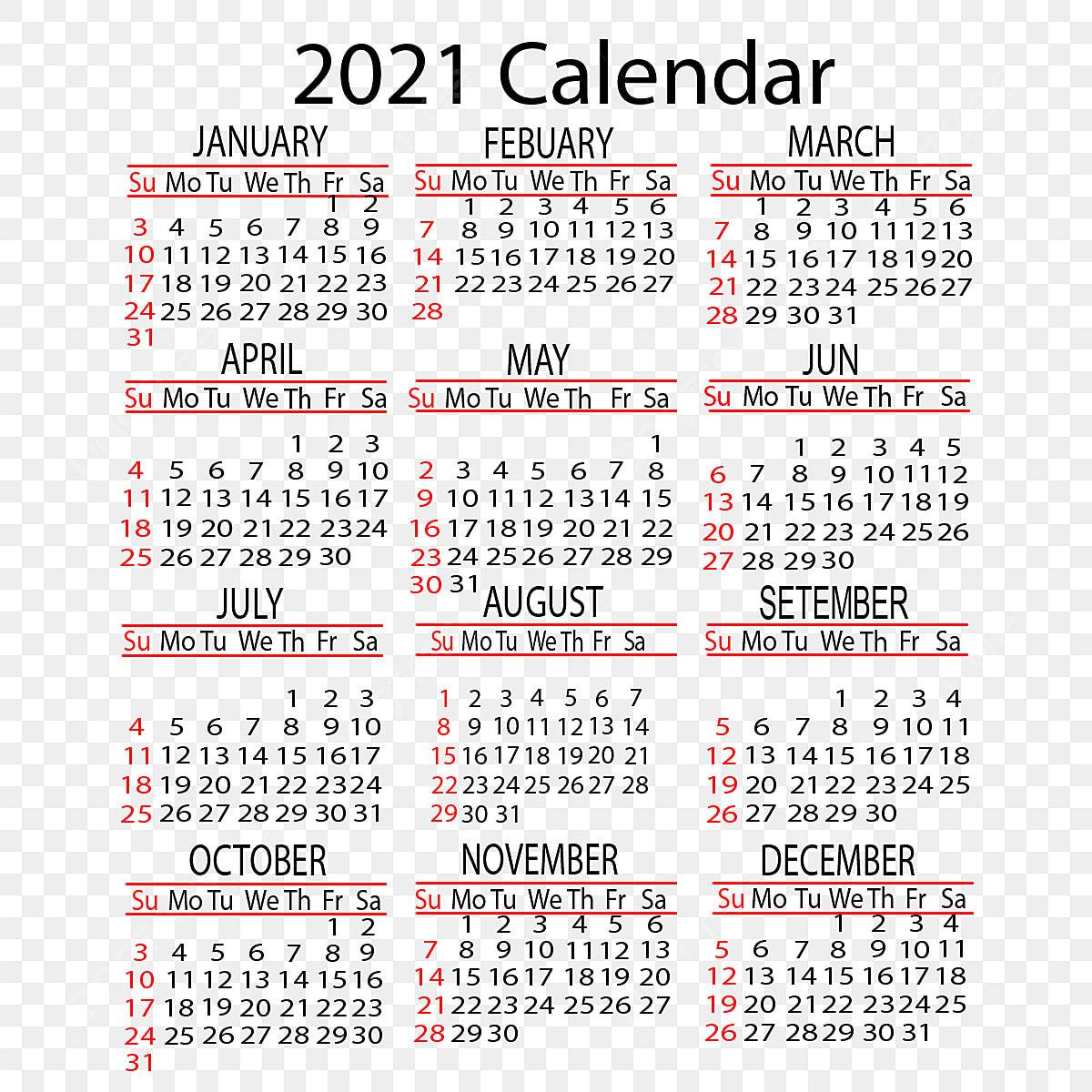 Calendar 2021 Yearly Vector Design, 2021, Calendar, Year ...