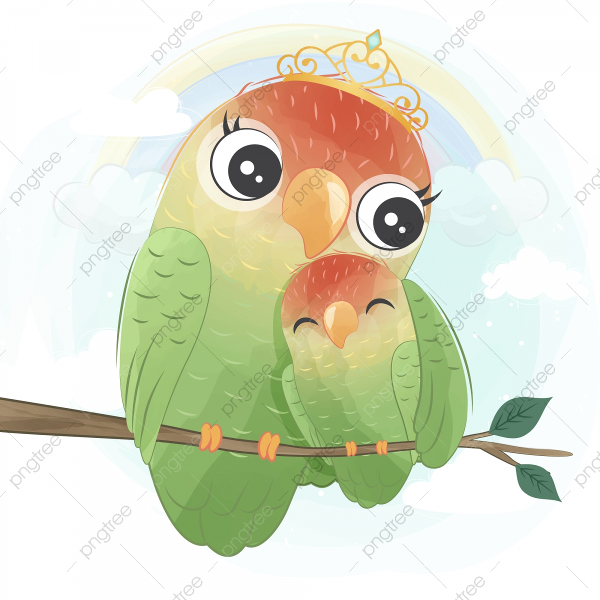Cute Bird With Watercolor Effect Watercolor Baby Love Png And Vector With Transparent Background For Free Download