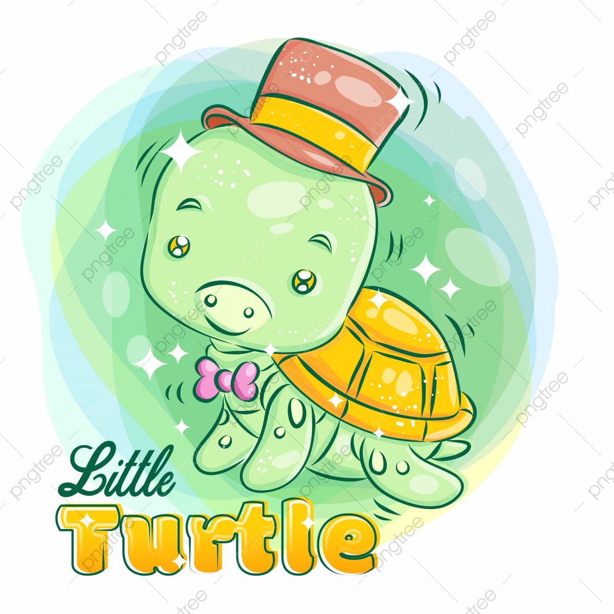 Cute Little Turtle Wear A Hat And Ribbon With Smiling Face