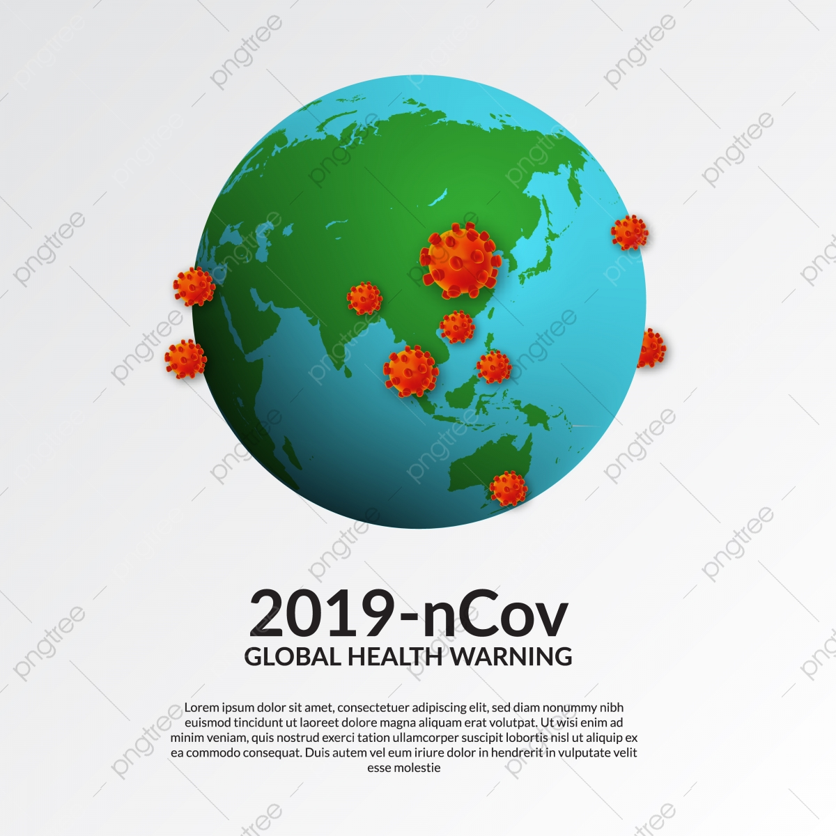 3d Virus Illustration With Earth Globe Global Pandemic