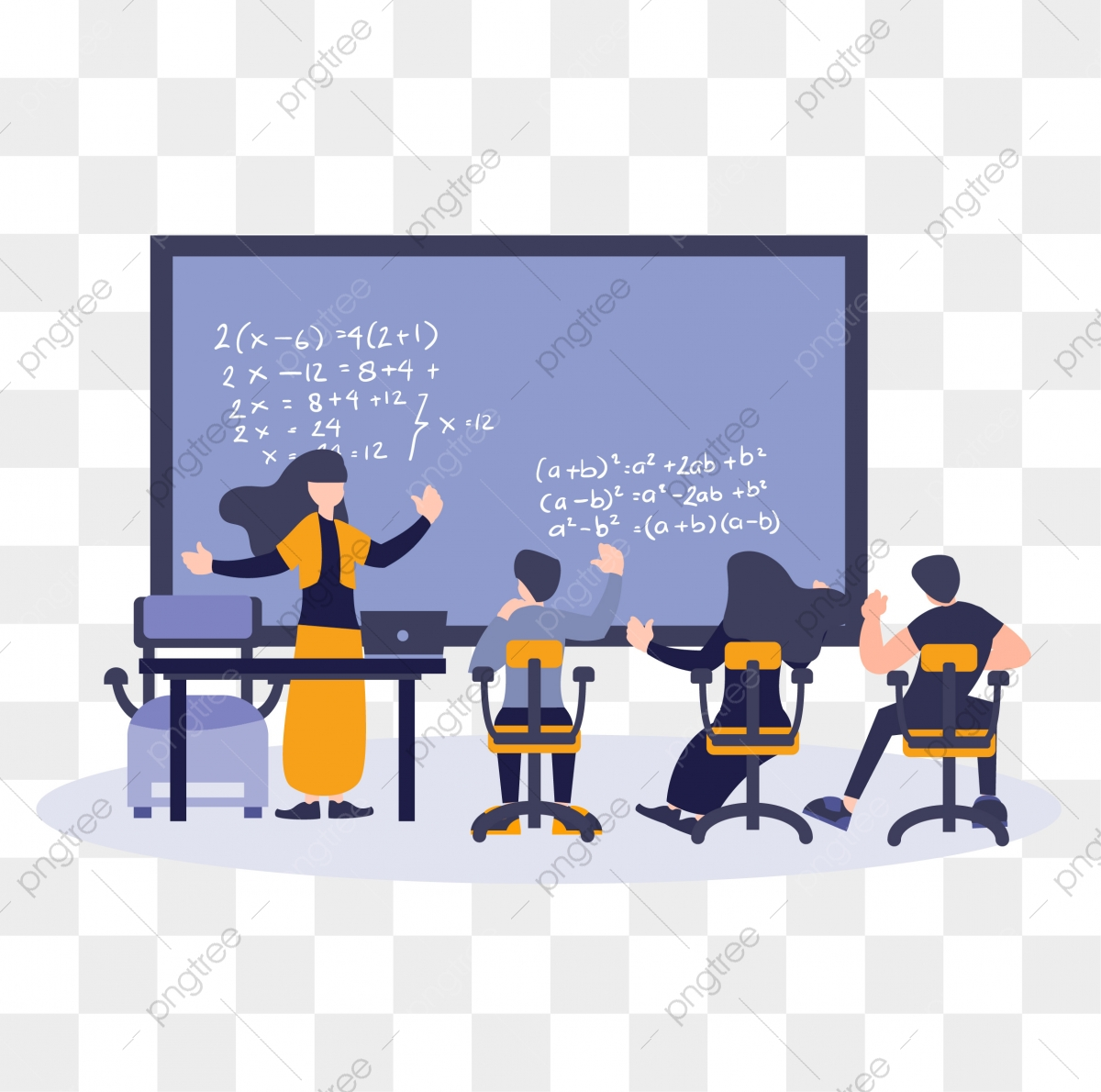 Flat Cartoon Illustration Students And Teacher Learning And Study Education Concept Study Education Book Png And Vector With Transparent Background For Free Download