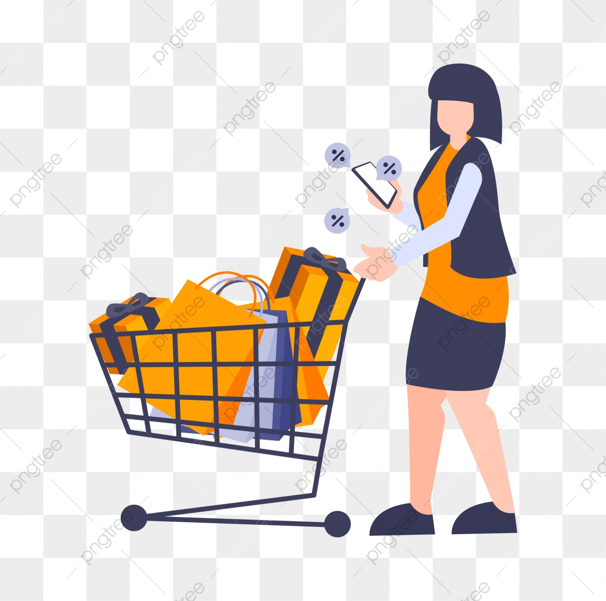 Flat Cartoon Illustration Woman With Shopping Trolley And Smartphone Bag Buy Online Png And Vector With Transparent Background For Free Download