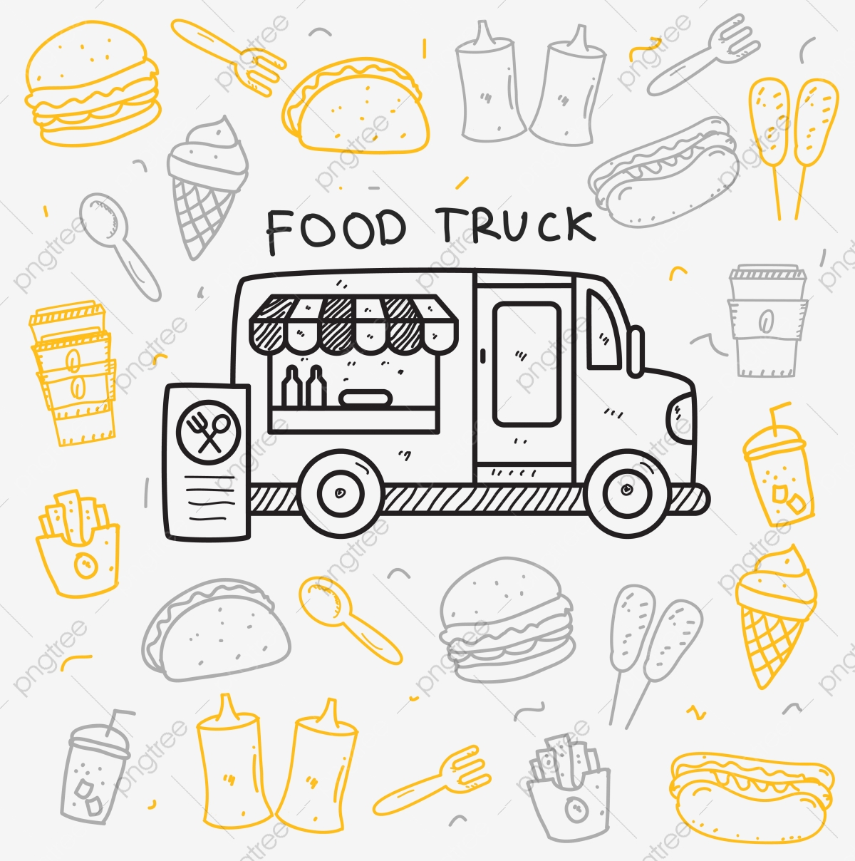 Food Truck Doodle Vector Illustration In Cute Hand Drawn Style Doodle Food Street Food Png And Vector With Transparent Background For Free Download