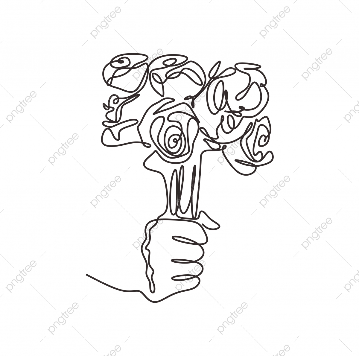 Hand Holding Bouquet Of Rose Flowers Minimalism Continuous One Line Drawing Bouquet Flower Rose Png And Vector With Transparent Background For Free Download