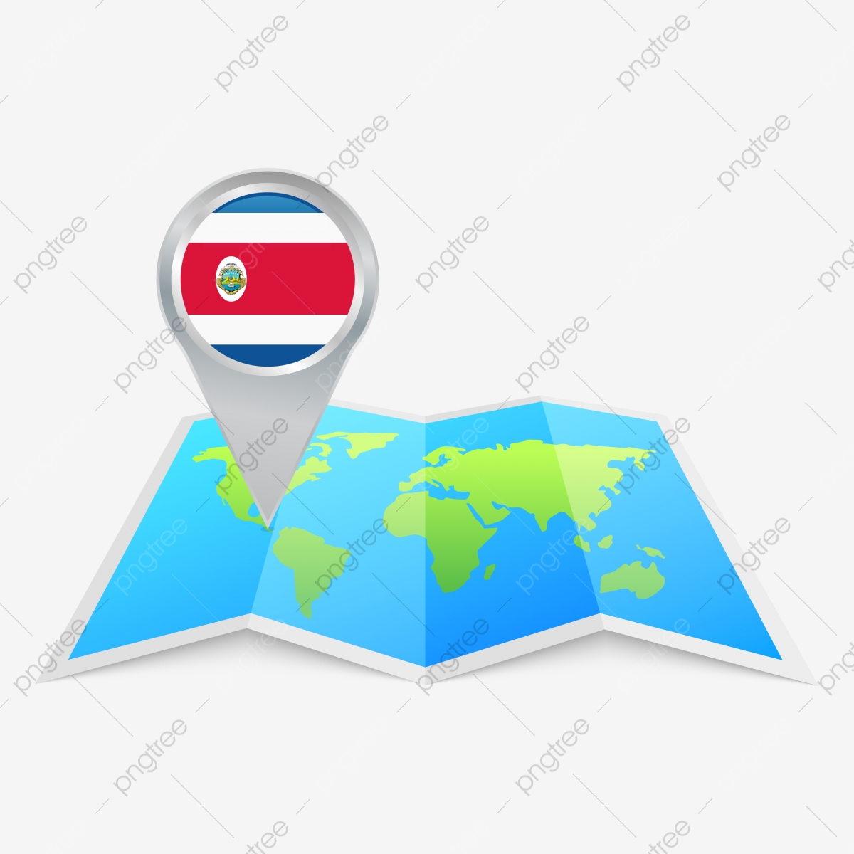 Image of: Round Pin Icon Of Costa Rica On The Folded World Map Costa Rica Flag Of Costa Rica Round Pin Png And Vector With Transparent Background For Free Download