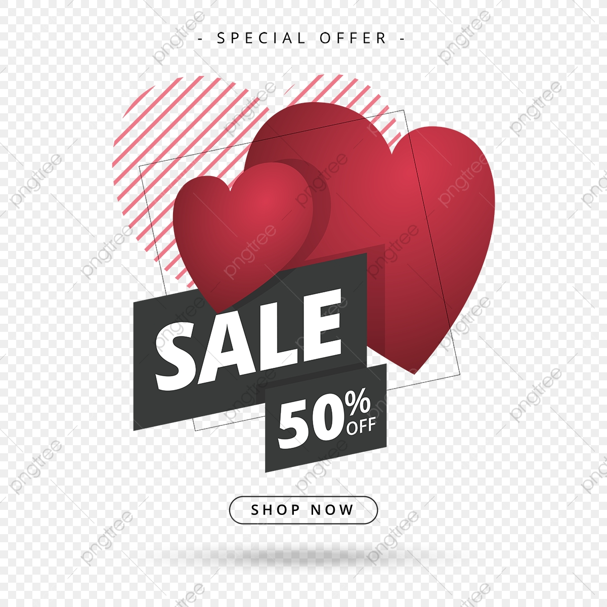 Valentines Day Sale Vector Design With Elegant Heart Line Shadow And Border Style Love Valentine Heart Png And Vector With Transparent Background For Free Download