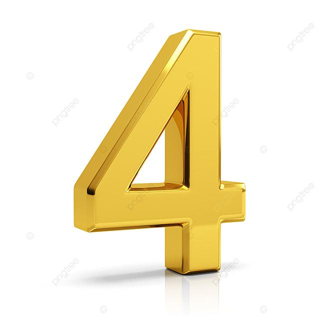 Gold Number 4  4  Number  Number 4 Png Transparent Clipart