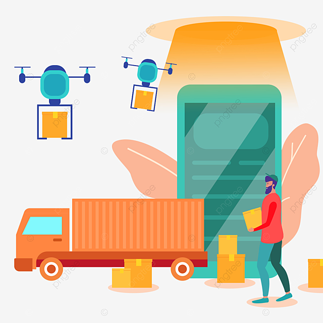 Cartoon Hand Drawn Drone Online Express Delivery Illustration Truck Uav Express Delivery Png Transparent Clipart Image And Psd File For Free Download