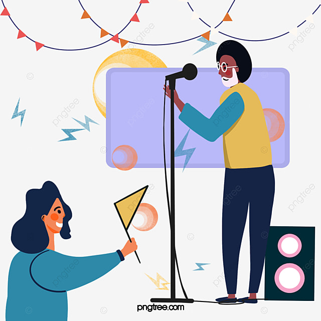 Hand Drawn Cartoon Music Singing Performance Illustration Sing Kpop Music Cartoon Png Transparent Clipart Image And Psd File For Free Download