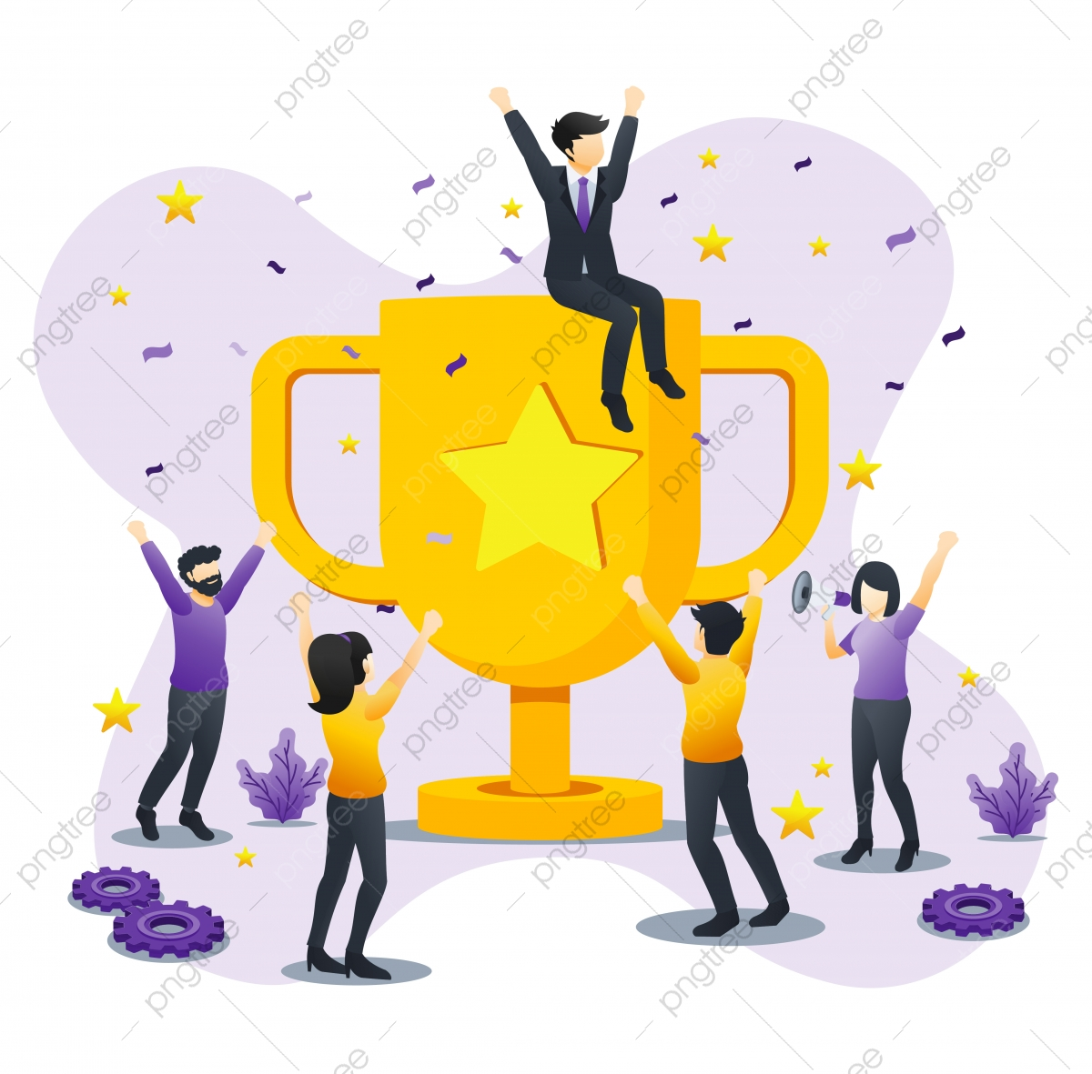 success png images vector and psd files free download on pngtree https pngtree com freepng business team success concept people celebrating success with giant golden trophy achievement partnership leadership can used for webinfographics landing page flat vector illustration 5335905 html
