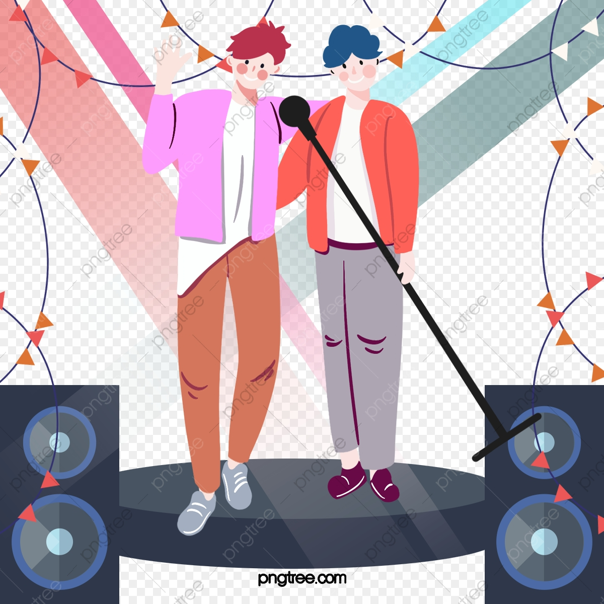 pngtree cartoon hand drawn stage singing music illustration png image 5337705