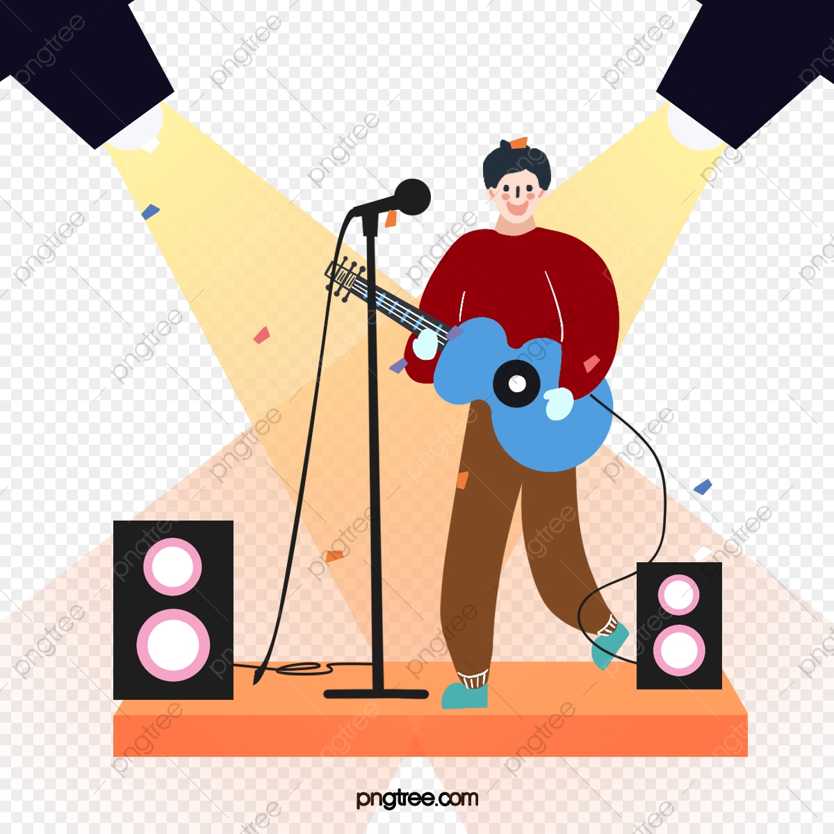 Cartoon Hand Drawn Stage Singing Performance Illustration Stage Sing Kpop Music Png Transparent Clipart Image And Psd File For Free Download