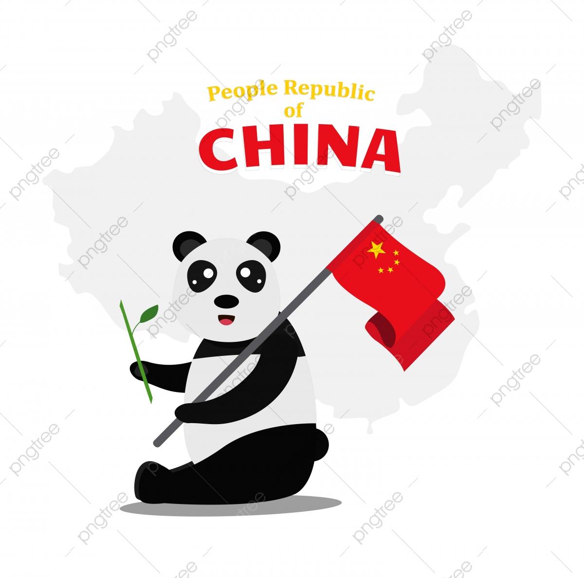 Gambar Panda Gergasi Comel Memegang Buluh Dan Bendera Cina Dalam Gaya Kartun Untuk Projek Maskot Kartun Merah Merah Jambu Png Dan Vektor Untuk Muat Turun Percuma