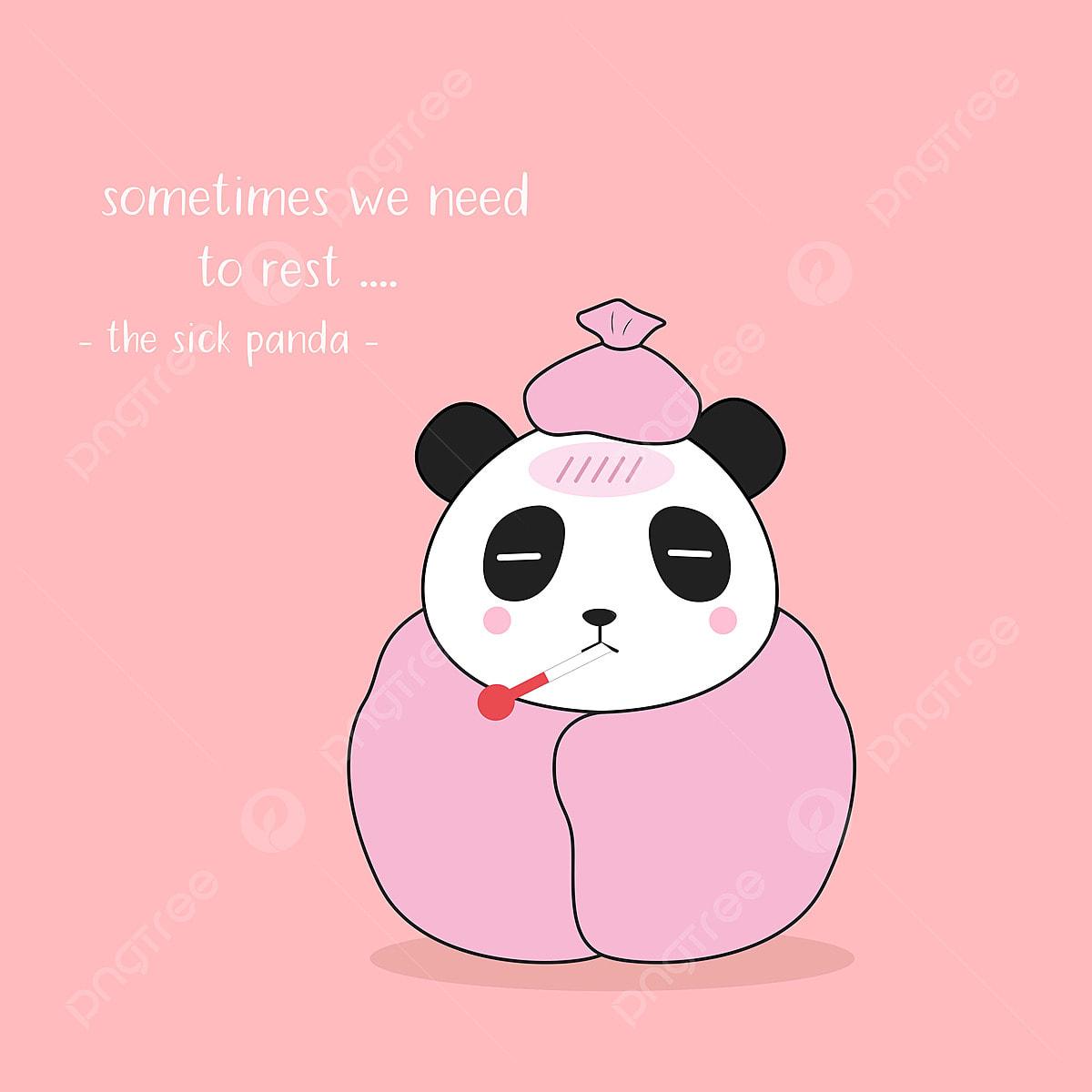 Watak Panda El Yang Sakit Dalam Gaya Kartun Nikmati