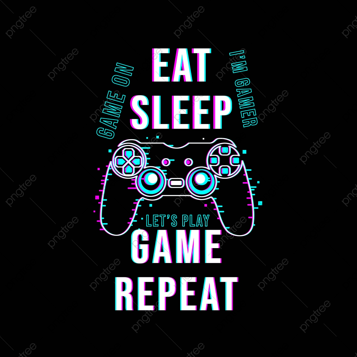 pngtree eat sleep game repeat t shirt design png image 5337996