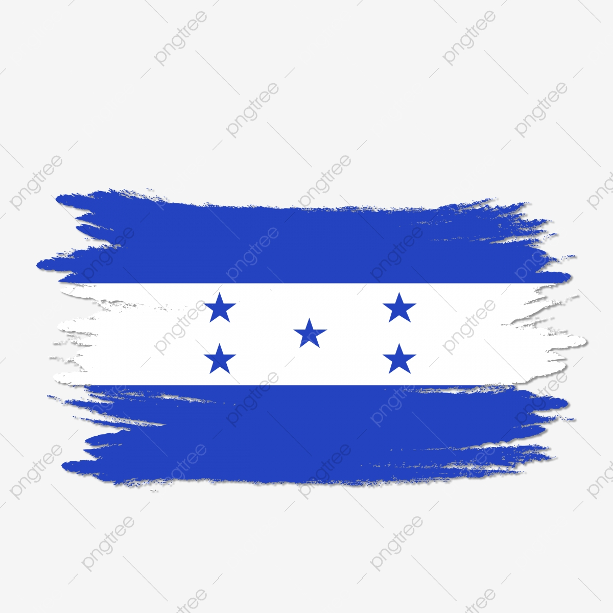 Bandera De Honduras Cepillo Pintado Acuarela Transparente