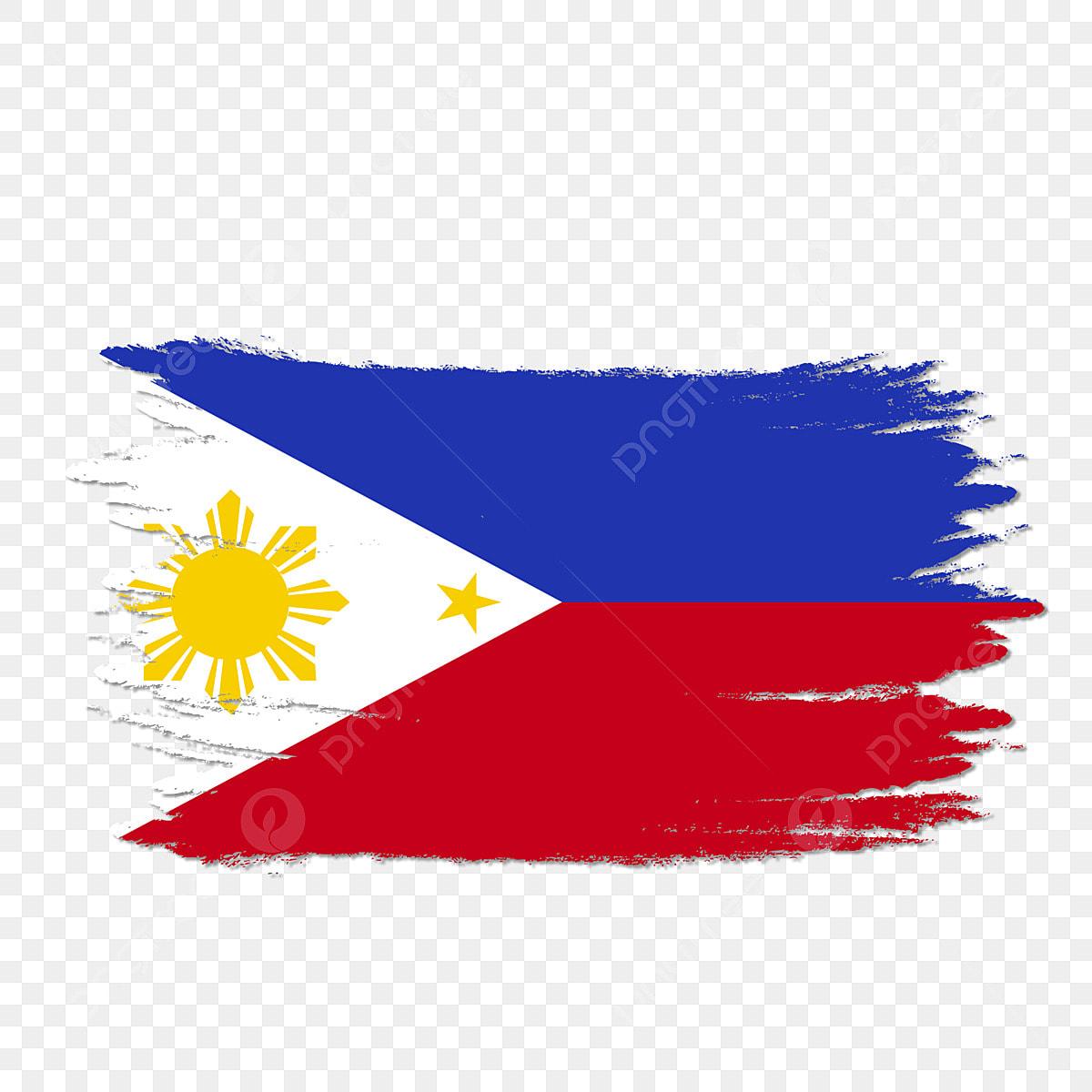 Philippines Flag Transparent Watercolor Painted Brush, Philippines, Philippines Flag