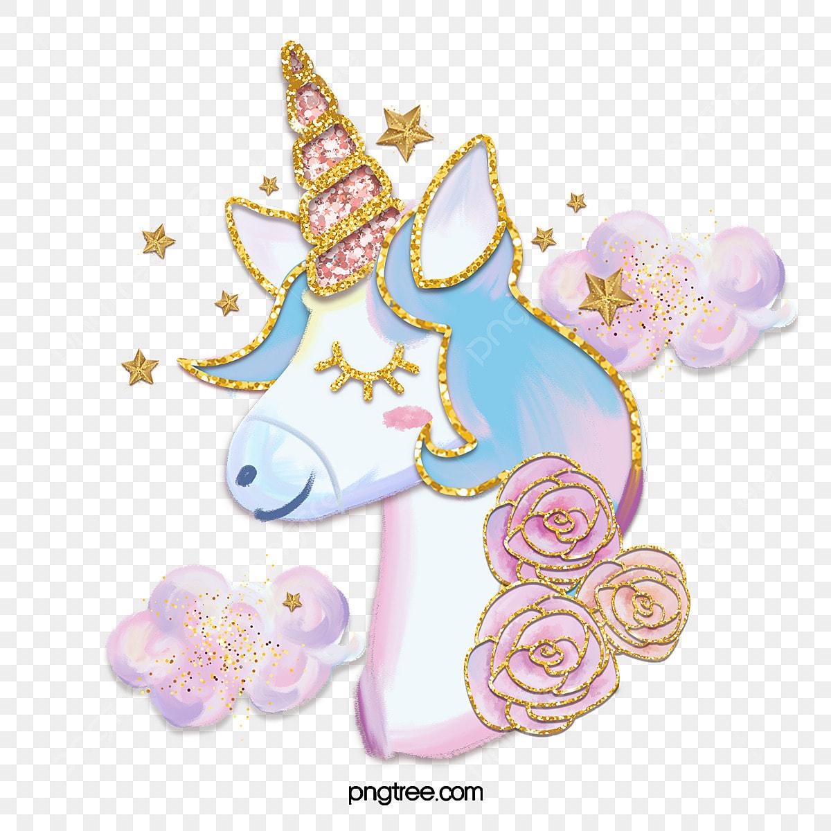 pngtree pink fantasy unicorn gold pink star rose png image 5333573