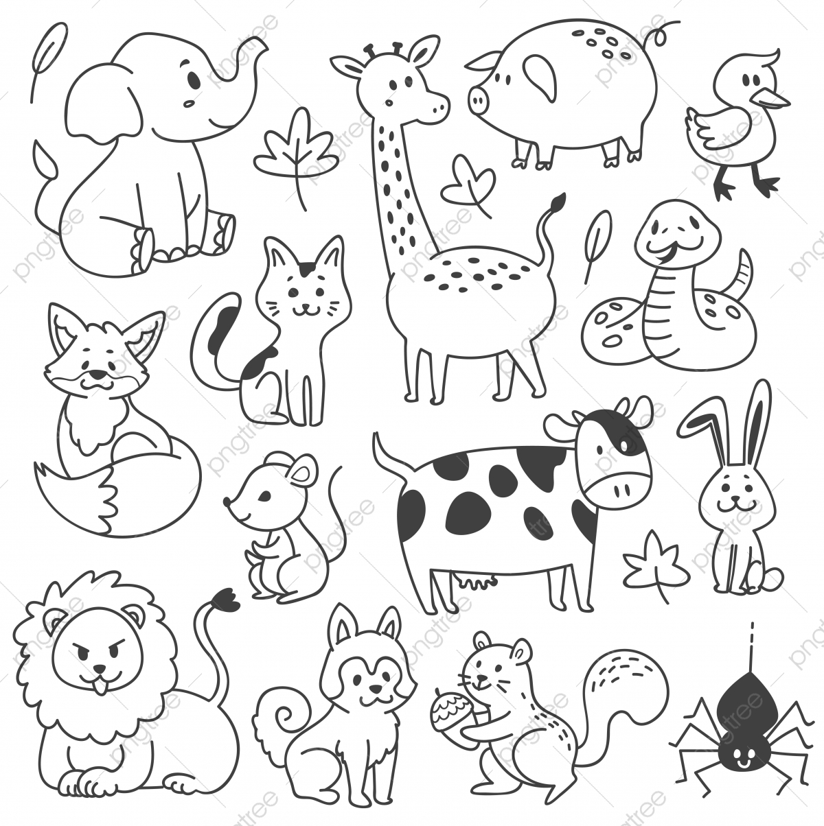 Set Of Animals Doodle Vector Illustration, Animal, Animals ...