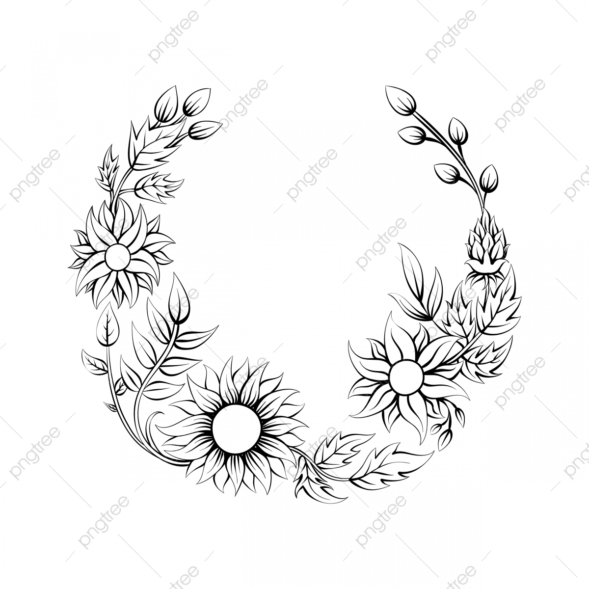 Sunflower Floral Frame Tropical Leaf Simple Illustration Art Black Border Png And Vector With Transparent Background For Free Download Easy drawing guides > easy , plant , tree > how to draw a palm tree. https pngtree com freepng sunflower floral frame tropical leaf simple illustration 5329483 html
