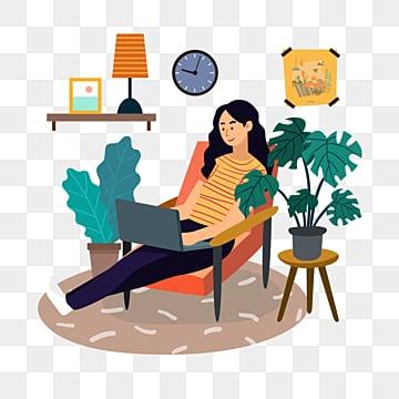 рисованной дома изоляции нового вируса коронарной пневмонии работающих на дому, семейная жизнь, Работа из дома, работы PNG и PSD