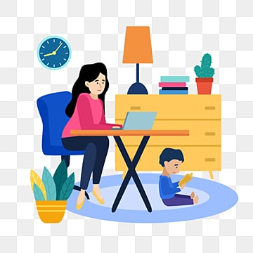 рисованной дома изоляции нового вируса пневмонии работающих на дому с детьми, работа, семейная жизнь, работы PNG и PSD