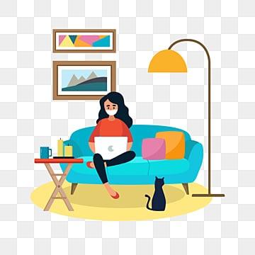 домашняя изоляция нарисованная от руки чтобы новый вирус пневмонии не работал дома, семейная жизнь, Работа из дома, работы PNG и PSD