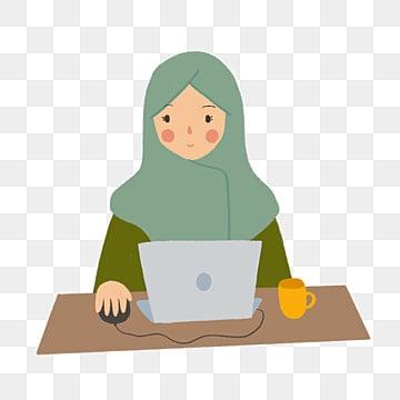 девушка в хиджабе работает из дома иллюстрации в стиле рисованной, девушка, осознание здоровья, здравоохранение PNG и PSD