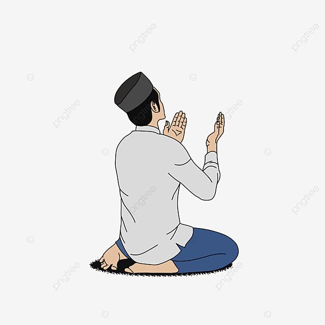 Muslim Man Pray With Cap, Illustration, Prayer, Religion PNG ...