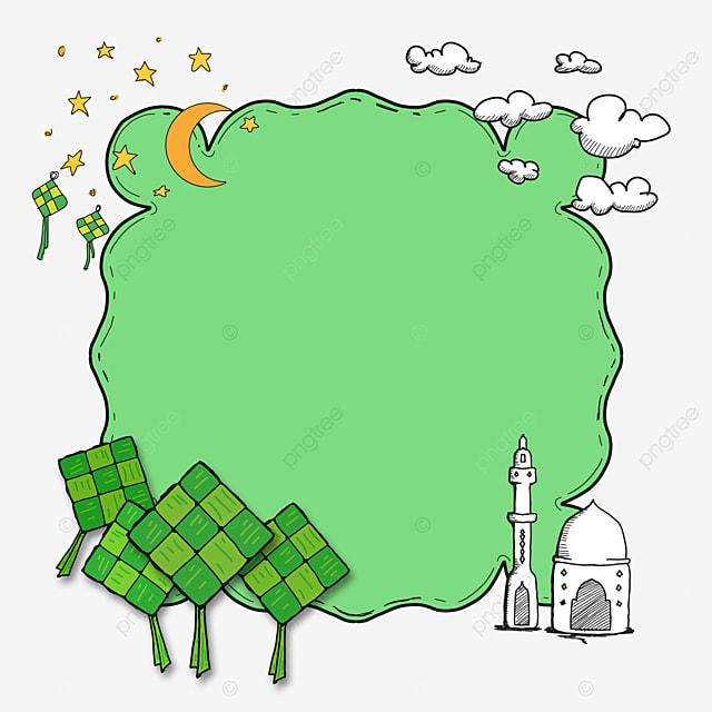 gambar doodle ketupat ramadan idulfitri bingkai ketupat idul fitri makanan png dan psd untuk muat turun percuma gambar doodle ketupat ramadan idulfitri