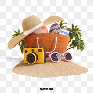 Beach travel elements 3d, 3d, Stereoscopic, Vacation PNG and PSD