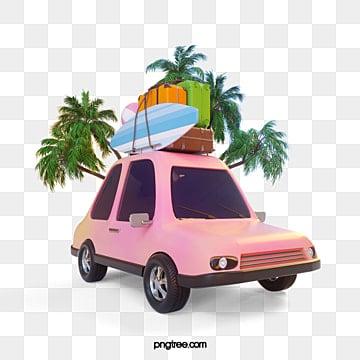 Pink car trip 3d element, Car Clipart, Driverless Travel, Car PNG and PSD