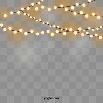 праздничная ночь желтая гирлянда, светлый, ночное украшение, праздничное освещение PNG и PSD