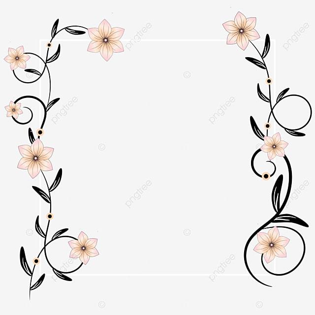 إطار أبيض مزخرف بالزهور زهور زهرة ملونة زخرفة Png وملف Psd للتحميل مجانا