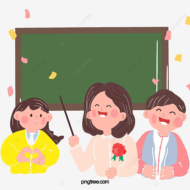 Gambar Hari Guru Kartun Yang Dilukis Dengan Tangan Yang Mengajar Ilustrasi Papan Tulis Bunga Garisan Cikgu Png Dan Psd Untuk Muat Turun Percuma