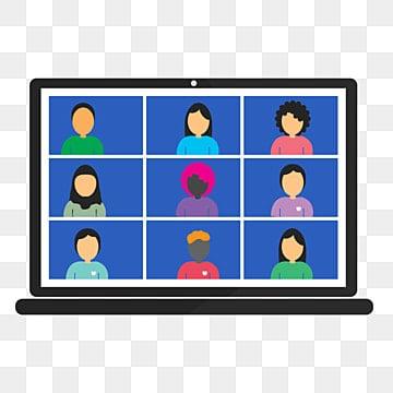 онлайн класс школьный видеозвонок из дома коллеги говорят на экране ноутбука, видео, Вызов, отважный PNG и PSD