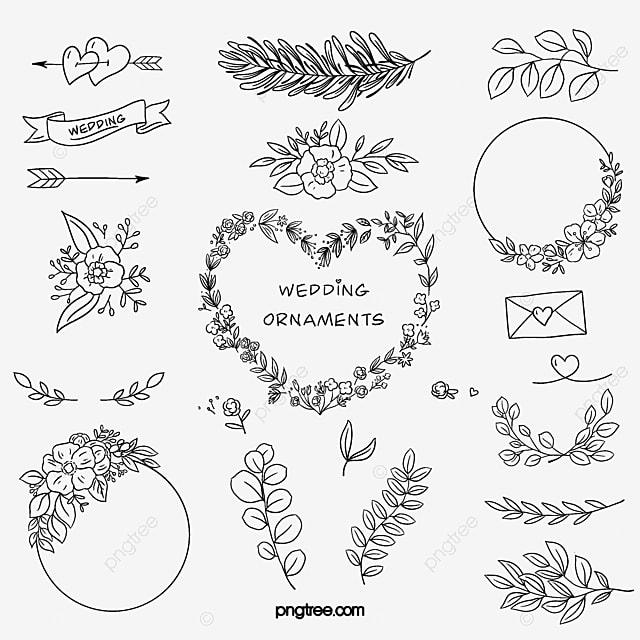elemen ornamen bunga pernikahan ornamen bunga lukisan tangan daun daun png transparan gambar clipart dan file psd untuk unduh gratis elemen ornamen bunga pernikahan