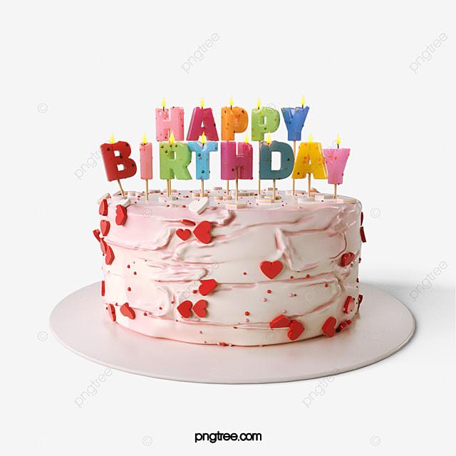 كعكة عيد ميلاد سعيد عنصر 3d عيد ميلاد سعيد كيك حب Png وملف Psd للتحميل مجانا