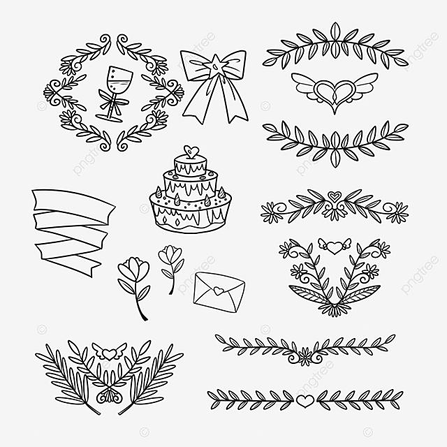 ornamen bunga pernikahan aksesoris gaya garis pernikahan png transparan gambar clipart dan file psd untuk unduh gratis pngtree