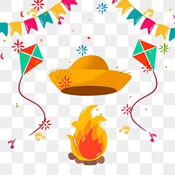 Рисованной мультфильм факел бразильской соломенной шляпе иллюстрации, Соломенная шляпа, Феста Юнина, Бразилия PNG и PSD