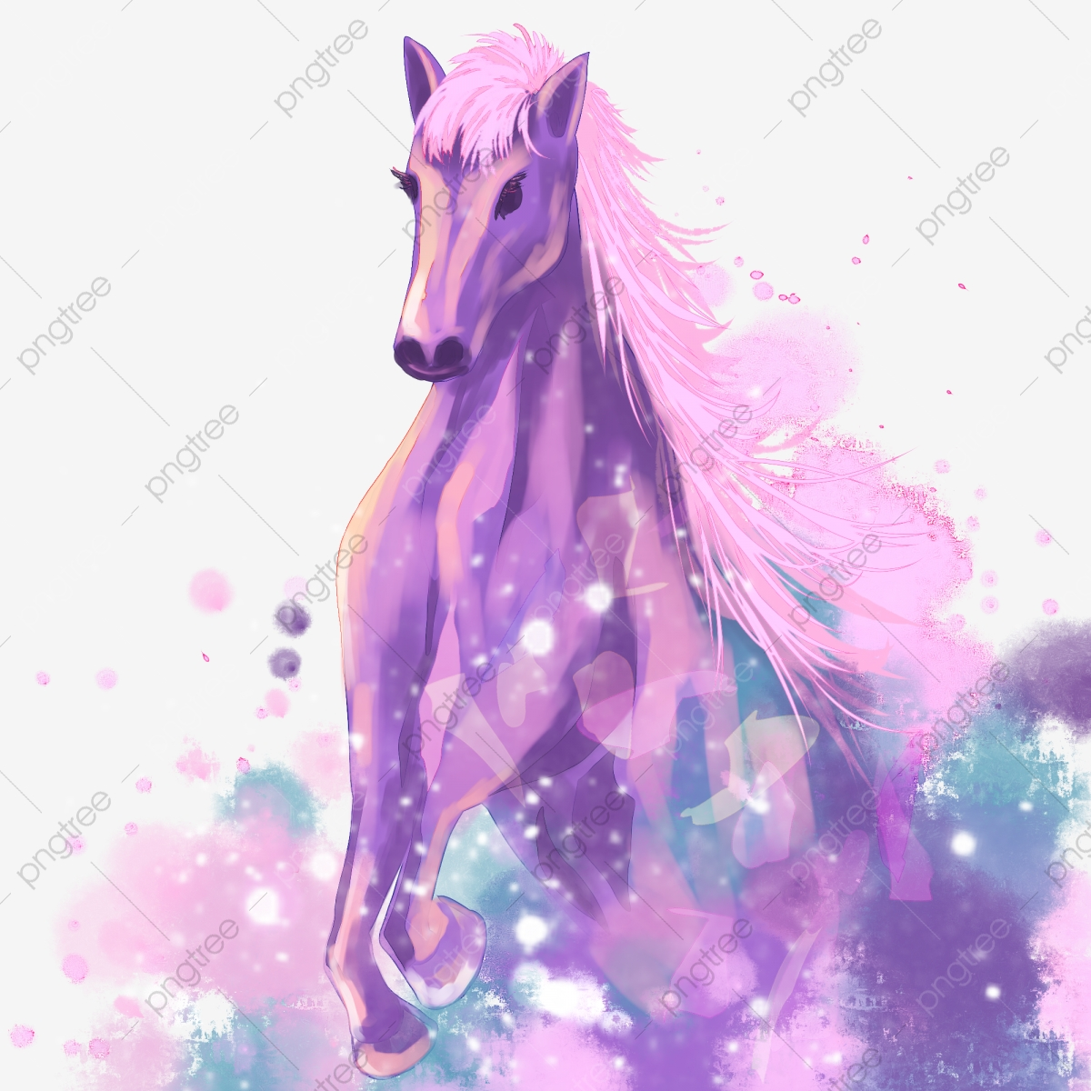 Beautiful Watercolor Running Horse Beautiful Watercolor Ink Running Horse Png Transparent Clipart Image And Psd File For Free Download