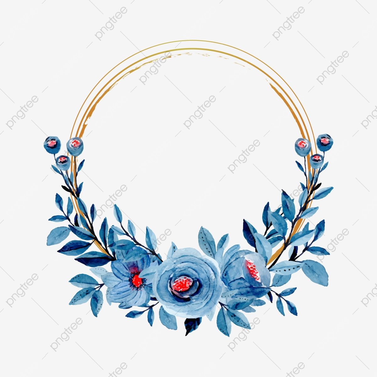 blue floral watercolor with golden frame flower wedding invitation png and vector with transparent background for free download https pngtree com freepng blue floral watercolor with golden frame 5358824 html