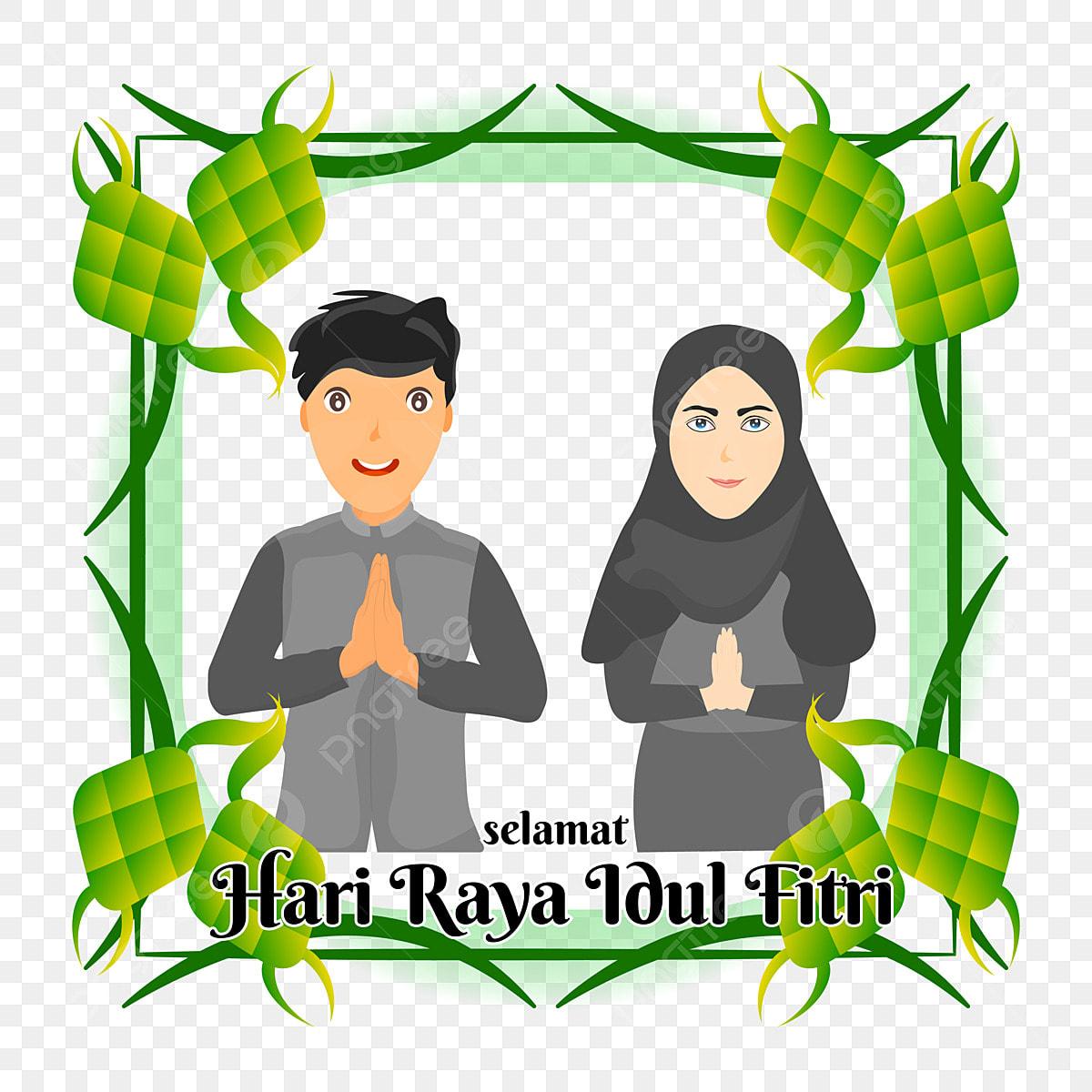 Cartoon Muslim Couple Say It Selamat Hari Raya Idul Fitri Happy Eid Mubarak Idul Fitri Eid Fitri Eid Png And Vector With Transparent Background For Free Download