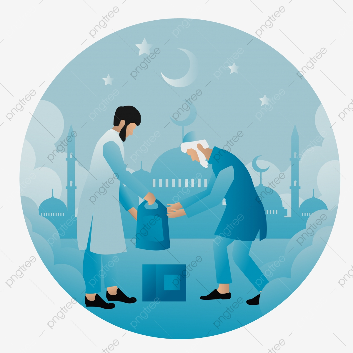concept vector illustration of giving zakat to old man vector illustration flat cartoon design moon mosque koran png and vector with transparent background for free download https pngtree com freepng concept vector illustration of giving zakat to old man vector illustration flat cartoon design 5374269 html